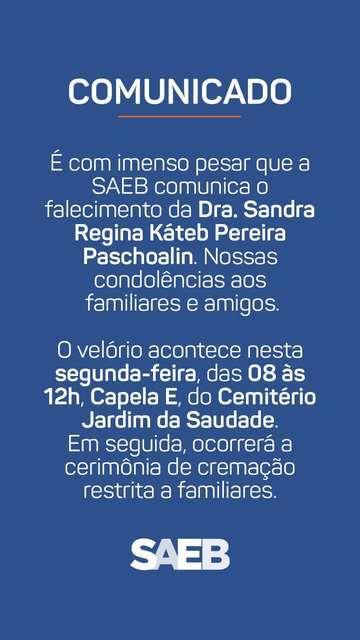 Nota de Falecimento – Dra. Sandra Paschoalin