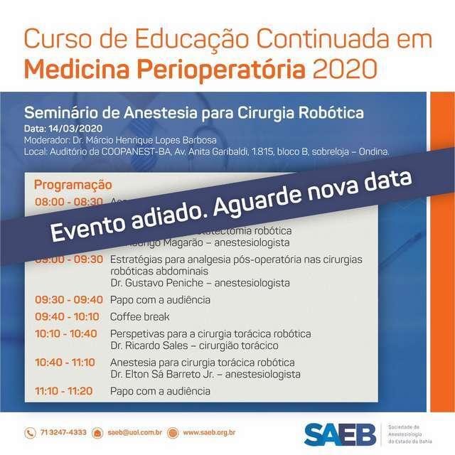 SAEB adia Seminário de Anestesia para Cirurgia Robótica