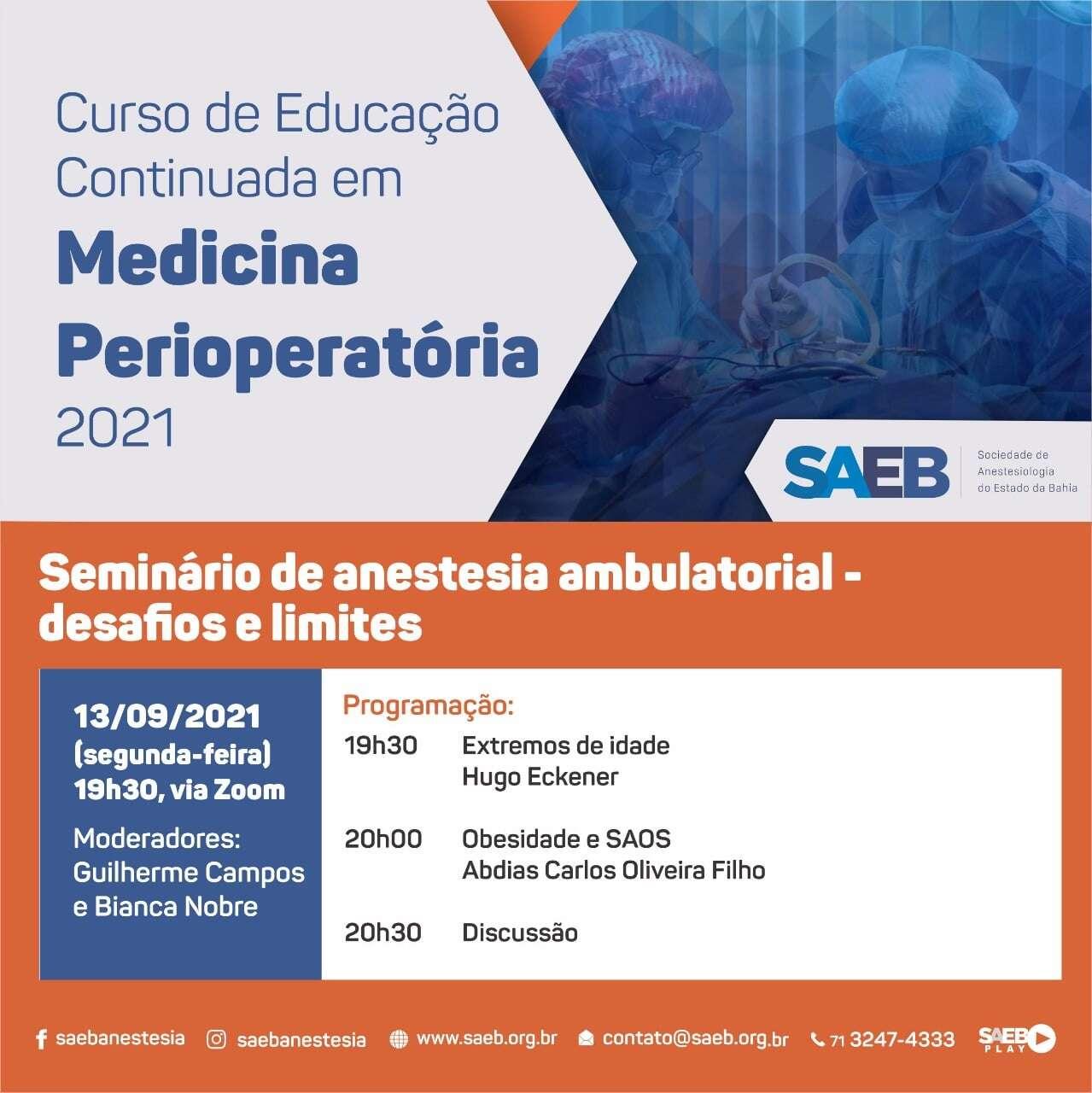 Curso de Educação Continuada Medicina Perioperatória 2021